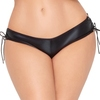 Seven 'til Midnight Plus Size Crotchless Wet Look Lace-Up Knickers