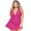 Seven 'til Midnight Plus Size Pink Lace and Mesh Babydoll Set