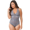 Lovehoney Grey Shimmering Criss-Cross Crotchless Lace Body