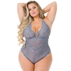 Lovehoney Plus Size Grey Shimmering Criss-Cross Lace Teddy