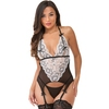 Lovehoney Black and White Lace Peek-A-Boo Merry Widow Bustier