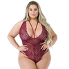Lovehoney Plus Size Late Night Liaison Wine Crotchless Lace Body