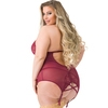 Lovehoney Plus Size Twilight Temptation Wine Halterneck Basque Set
