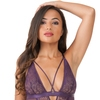 Lovehoney Moonflower Purple Lace Strappy Basque Set