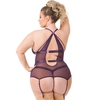 Lovehoney Plus Size Moonflower Purple Lace Strappy Basque Set
