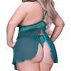 Seven 'til Midnight Plus Size Emerald Lace and Mesh Babydoll Set