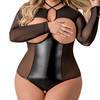 Exposed Plus Size Black Wet Look Open Cup Crotchless Teddy