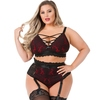 Lovehoney Plus Size Night Lily BH-Set (weinrot und schwarz)
