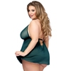 Lovehoney Plus Size Barely There Sheer Green Babydoll Set