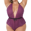 Lovehoney Plus Size Barely There Wine Sheer Crotchless Teddy