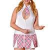 Exposed Plus Size White Zip Front Sexy Schoolgirl Costume