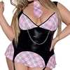 Exposed Plus Size Wet Look Schoolgirl Costume