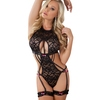 G World Black High Neck Lace Body and Garter Set