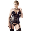 Cottelli Plus Size Wet Look and Lace Peek-a-Boo Merry Widow Bustier Set