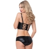 Seven 'til Midnight Black Wet Look Longline Bra Set