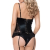 Seven 'til Midnight Black Wet Look and Lace Bustier Set