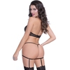 Seven 'til Midnight Black Wet Look and Mesh Cutaway Bustier Set