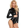 7Heaven Black Wet Look Long Sleeve Zip-Up Teddy
