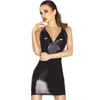 Passion Black Wet Look Criss-Cross Back Dress