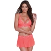 Dreamgirl Coral Lace Bralette, Skirt and G-string Set