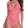 Dreamgirl Coral Lace Halterneck Thong Teddy