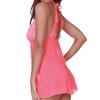 Dreamgirl Coral High Neck Lace and Mesh Babydoll
