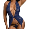 Dreamgirl Blue Lace Open Back Bustier Set