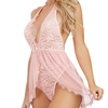 Dreamgirl Pink Deep Plunge Lace and Mesh Body