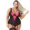 Lovehoney Plus Size Enchanted Red and Black Lace Basque Set