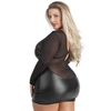 Robe manches longues wetlook résille grande taille Fierce, Lovehoney