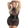 Lovehoney Plus Size Fierce Wet Look and Mesh Dress Set
