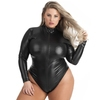 Lovehoney Plus Size Fierce Wet Look Long Sleeve Zip-Around Body