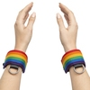 Bondage Boutique Rainbow and Leather Wrist Cuffs