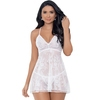 Escante White Lace and Mesh Layered Babydoll Set