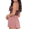 Escante Plum Lace and Mesh Babydoll Set