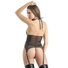 Ensemble bustier dos nu string ficelle simili cuir Fierce, Lovehoney