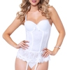 Seven 'til Midnight White Underwired Laced Bustier Set