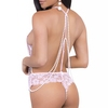 Escante Pink Backless Lace Pearl Thong Body