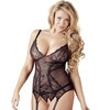 Cottelli Plus Size Black Lace and Mesh Basque Set