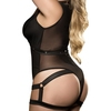 Mapale Plus Size Black Wet Look and Mesh Harness Teddy