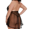 Dreamgirl Plus Size Black Deep Plunge Lace and Mesh Babydoll