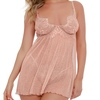 Dreamgirl Rose Gold Sheer Sparkly Babydoll Set