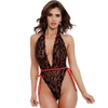 Dreamgirl Black Heart Deep Plunge Lace Teddy