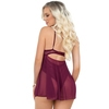 Escante Wine Lace and Mesh Underwired Babydoll