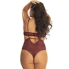 Oh La La Cheri Plus Size Wine Lace Cut-Out Half Cup Teddy