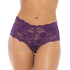 Oh La La Cheri Plus Size Purple Floral Lace Crotchless Shorts