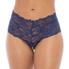 Oh La La Cheri Plus Size Blue Floral Lace Crotchless Shorts