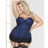 Seven 'til Midnight Plus Size Blue Lace Bustier Set