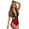 Mapale Red Snakeskin Print Lace Teddy