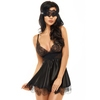 Beauty Night Black Satin Babydoll Set with Eye Mask
